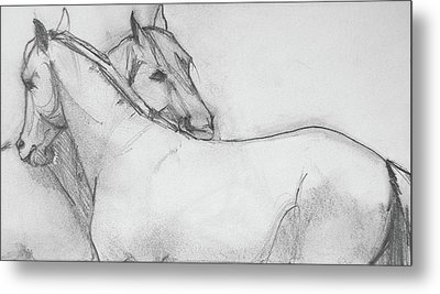 Dual Massage Sketch Metal Print
