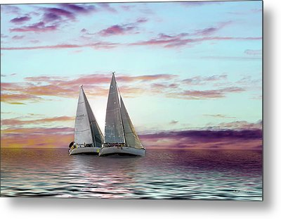 Dual Sailboats - Paint Fx Metal Print