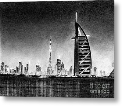 Dubai Cityscape Drawing Metal Print