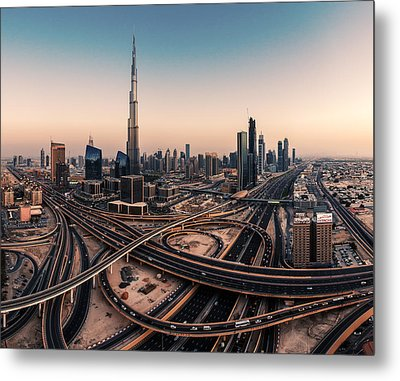 Dubai Skyline Panorama Metal Print by Jean Claude Castor