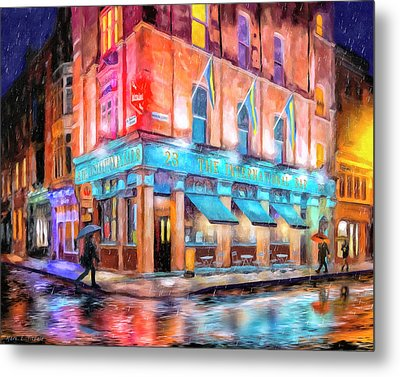 Metal Print featuring the painting Dublin In The Rain by Mark Tisdale