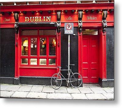 Dublin Red Pub Metal Print by Rae Tucker