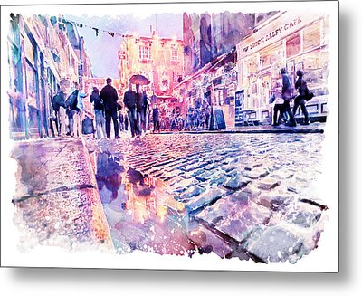 Metal Print featuring the mixed media Dublin Watercolor Streetscape by Marian Voicu