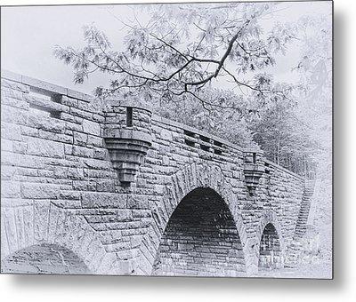 Duck Brook Bridge In Black And White Metal Print