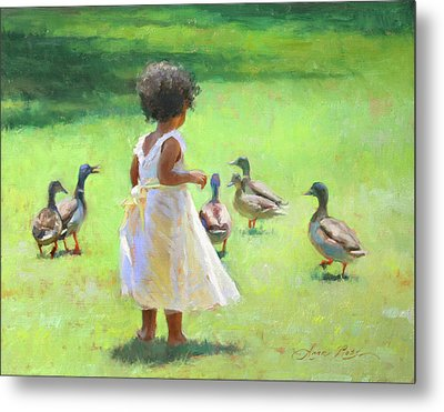 Duck Chase Metal Print by Anna Rose Bain