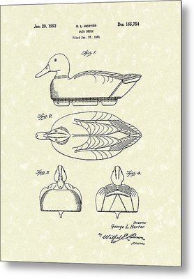 Duck Decoy 1952 Patent Art Metal Print