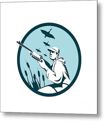 Duck Hunter Rifle Circle Retro Metal Print