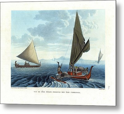 Dugout Outriggers From The Carolines Seen On Tinian Island Metal Print