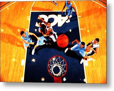 Duke And North Carolina Basketball Rivalry Metal Print by Brian Reaves
