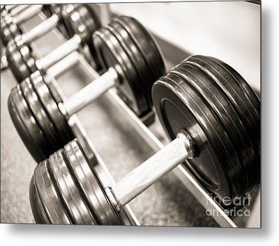 Dumbbell Weights On A Rack Metal Print
