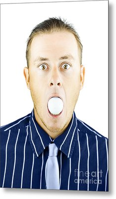 Dumbfounded Man Silenced By A Golf Ball Metal Print by Jorgo Photography - Wall Art Gallery