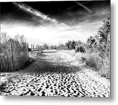 Dune Shadows At Harvey Cedars Metal Print by John Rizzuto