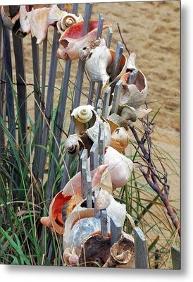 Dune Shell Fence Metal Print by Ann Tracy