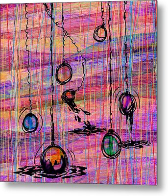 Dunking Ornaments Metal Print by Rachel Christine Nowicki