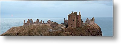 Metal Print featuring the photograph Dunnottar Castle Moonrise Panorama by Grant Glendinning