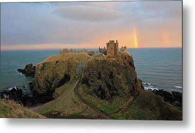 Metal Print featuring the photograph Dunnottar Castle Sunset Rainbow by Grant Glendinning