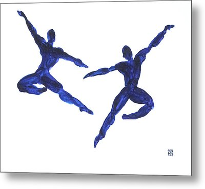 Duo Leap Blue Metal Print