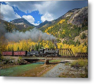 Durango-silverton Twin Bridges Metal Print by Inge Johnsson