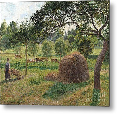 Dusk At Eragny Metal Print by Camille Pissarro