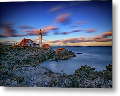 Dusk At Portland Head Lighthouse Metal Print by Rick Berk