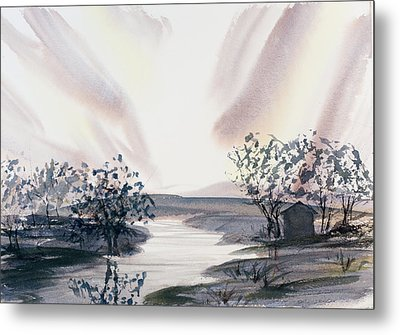 Dusk Creeping Up The River Metal Print