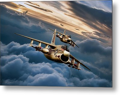 Dusk Delivery Corsair II Metal Print by Peter Chilelli