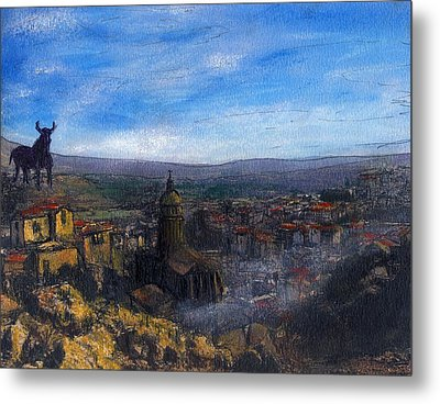 Dusk Falls On The Road To Malaga Metal Print by Randy Sprout
