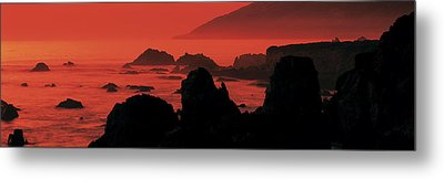 Dusk Headlands Near Pacific Valley Big Metal Print by Panoramic Images