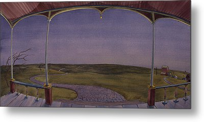 Metal Print featuring the painting Dusk On The Porch Of The Old Victorian by Scott Kirby