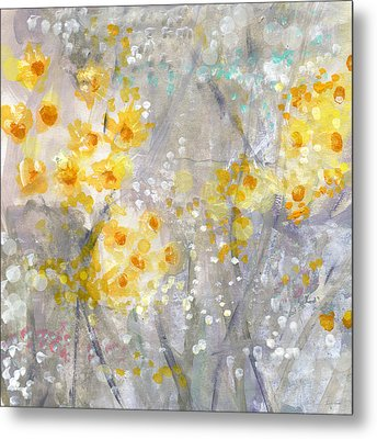 Dusty Miller- Abstract Floral Painting Metal Print by Linda Woods