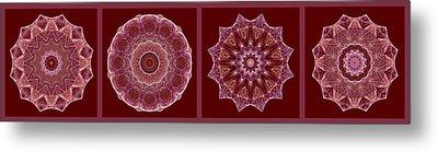 Dusty Rose Mandala Fractal Panel Metal Print