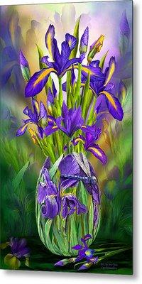 Dutch Iris In Iris Vase Metal Print by Carol Cavalaris