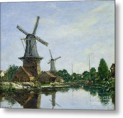 Dutch Windmills Metal Print by Eugene Louis Boudin