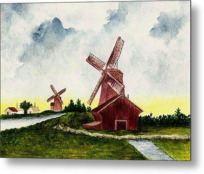 Dutch Windmills Metal Print by Michael Vigliotti