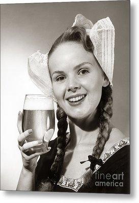 Dutch Woman With Beer, C.1950s Metal Print