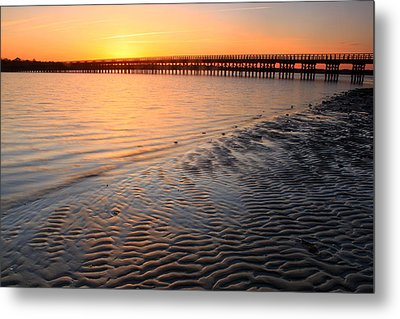 Duxbury Beach Powder Point Bridge Sunset Metal Print