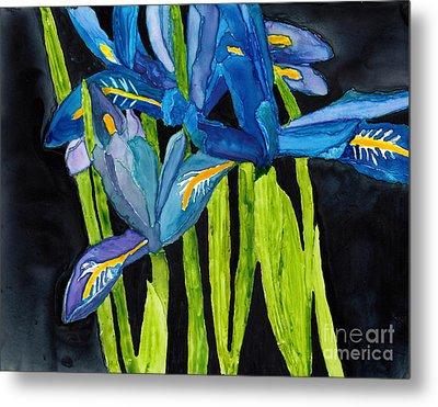 Dwarf Iris Watercolor On Yupo Metal Print