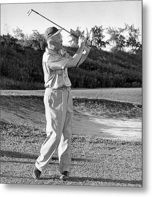 Dwight Eisenhower Golfing Metal Print by Underwood Archives