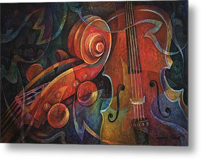 Dynamic Duo - Cello And Scroll Metal Print by Susanne Clark