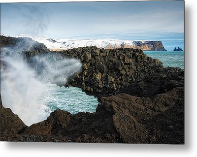 Metal Print featuring the photograph Dyrholaey Rock Arch Iceland by Matthias Hauser
