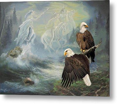 Eagels And Native American  Spirit Riders Metal Print