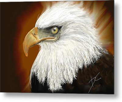 Metal Print featuring the digital art Eagle American by Darren Cannell