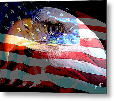 Eagle And Flag Metal Print by Tray Mead