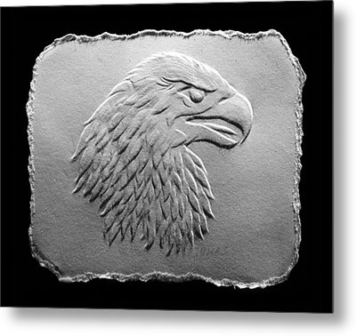 Metal Print featuring the relief Eagle Head Relief Drawing by Suhas Tavkar