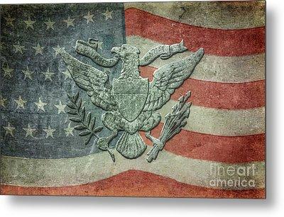 Metal Print featuring the digital art Eagle On American Flag by Randy Steele