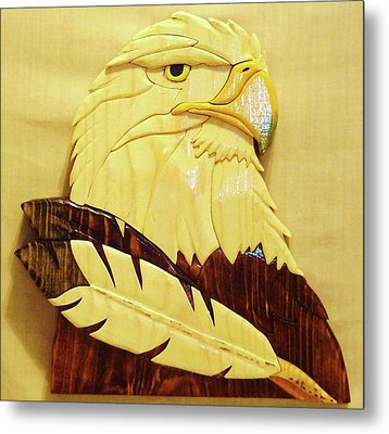 Eaglehead With Two Feathers Metal Print by Russell Ellingsworth