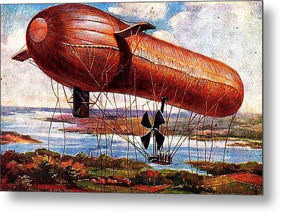 Early 1900s Military Airship Metal Print by Peter Gumaer Ogden