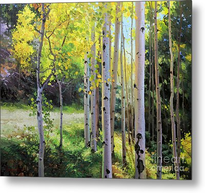 Early Autumn Aspen Metal Print by Gary Kim