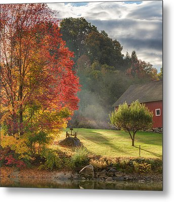 Early Autumn Morning Square Metal Print
