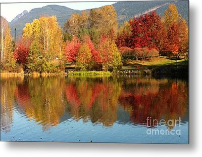 Metal Print featuring the painting Early Fall At Lafarge Lake by Rod Jellison